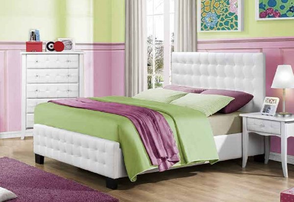 Sparkle Youth White Wood Vinyl Tufted Full Panel Bed HE-2004F-1