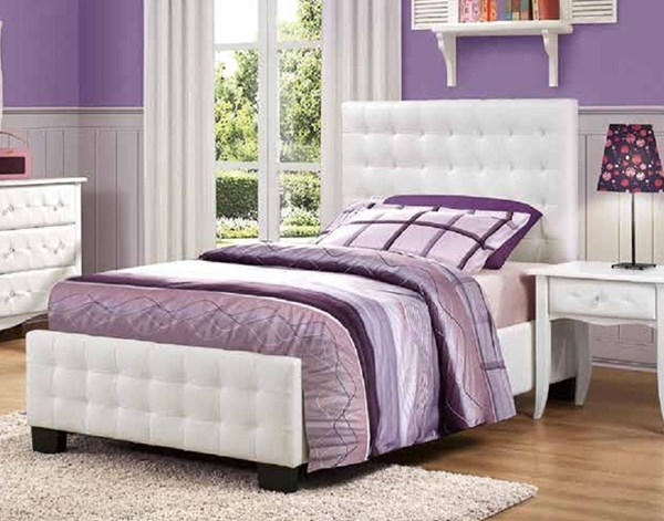 Sparkle Youth White Vinyl Wood Kids Panel Beds HE-2004-BEDS