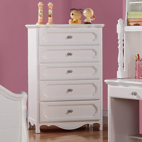 Hayley Country White Wood Round Knobs Drawer Chest HE-2007-9