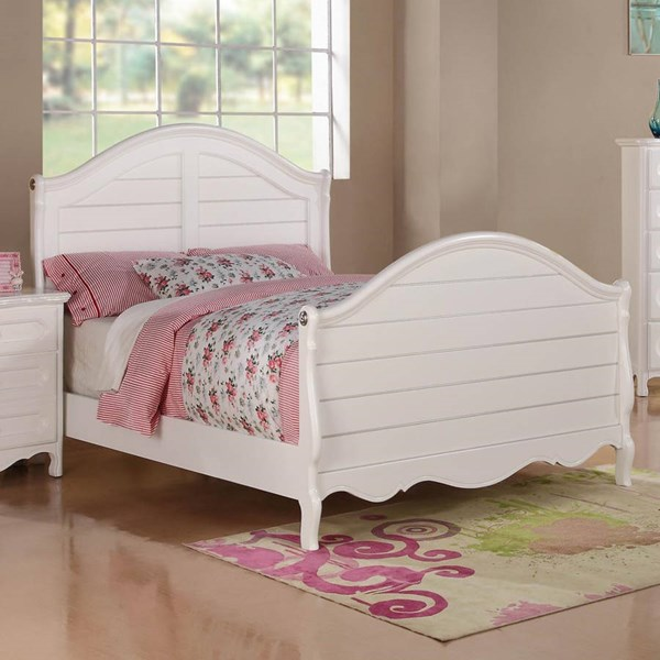 Hayley Country White Wood Twin Panel Bed HE-2007T-1