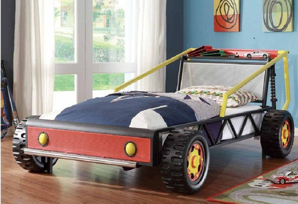 Track Contemporary Red Metal Twin Race Car Bed HE-2009T-1