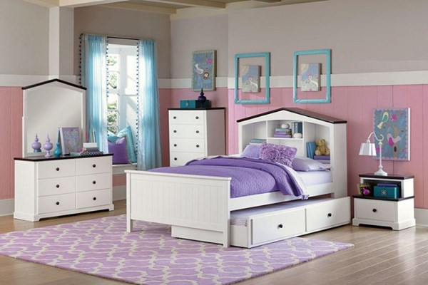 Lark Traditional White Wood 4pc Kids Bedroom Sets HE-2018-KBR-S