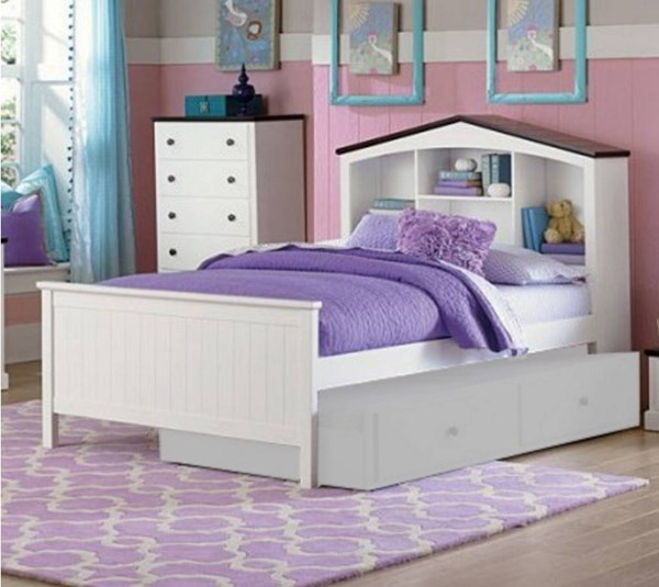 Lark Traditional White Wood Twin Bookcase Platform Bed HE-2018T-1