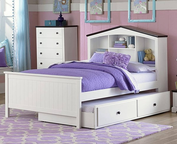 Lark Traditional White Wood Twin Bookcase Platform Trundle/Toy Box Bed HE-2018T-TRND