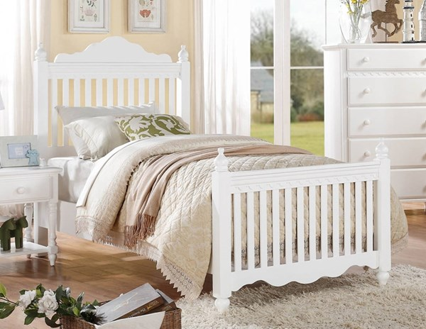 Emmaline Traditional White Wood Twin Bed HE-2019TW-1