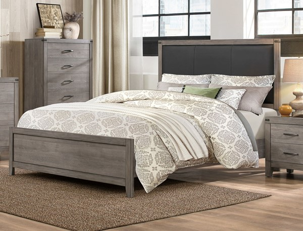 Home Elegance Woodrow Weathered Wood Black Queen Bed HE-2042-1