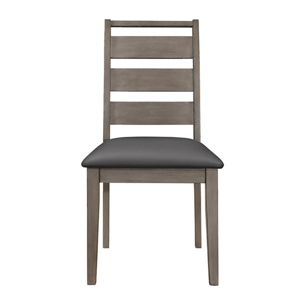 2 Home Elegance Woodrow Gray Black Side Chairs HE-2042S