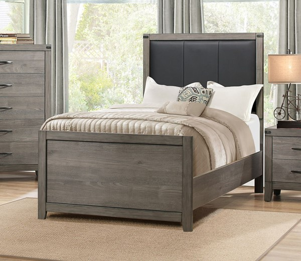 Home Elegance Woodrow Weathered Wood Black Beds HE-2042-BEDS