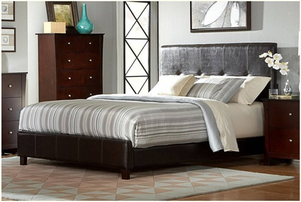 Avelar Contemporary Dark Brown Vinyl Wood King Bed HE-2100K-1EK