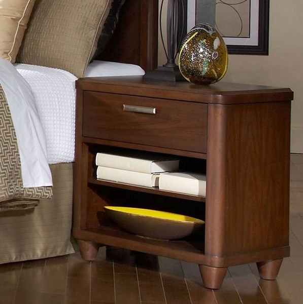 Beaumont Contemporary Medium Brown Wood Night Stand HE-2111-4