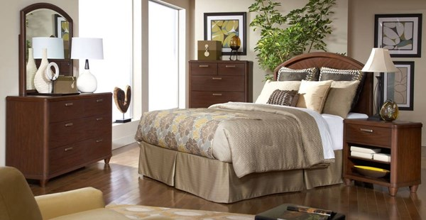Beaumont Medium Brown Wood Glass 2pc Bedroom Sets HE-2111-BR-S