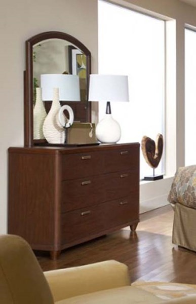 Beaumont Contemporary Medium Brown Wood Glass Mirror HE-2111-6
