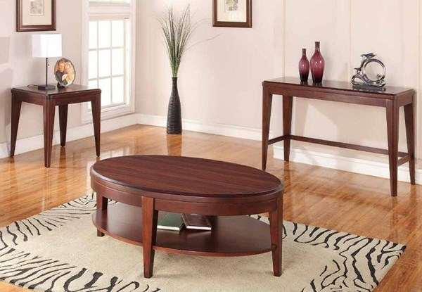 Beaumont Contemporary Medium Brown Cherry Wood Coffee Table Set HE-2111-OCT