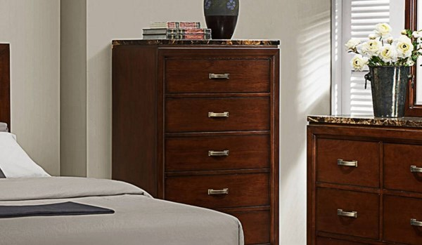Ottowa Transitional Brown Cherry Wood Faux Marble Top Chest HE-2112-9