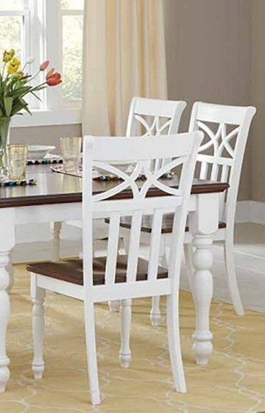 2 Sanibel Casual White Wood Solid Seat Side Chairs HE-2119WS