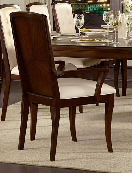 2 Abramo Contemporary Oak Wood Bonded Leather Arm Chairs HE-2125A