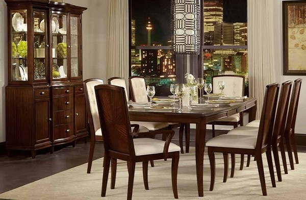 Abramo Contemporary Oak Wood Bonded Leather Dining Room Set HE-2125DR