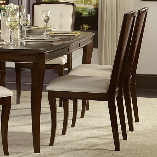 2 Abramo Contemporary Oak Wood Bonded Leather Side Chairs HE-2125S