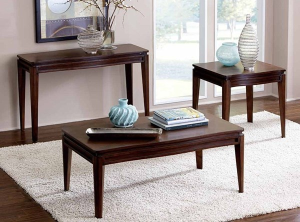 Kasler Contemporary Walnut Wood Veneers 3pc Coffee Table Set HE-2135-OCT-S