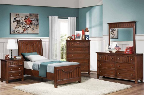 Alyssa Cherry Wood Mirror 2pc Bedroom Set W/Full Bed HE-2136-KBR-S1