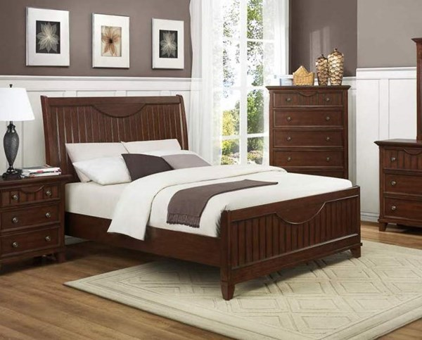 Alyssa Casual Cherry Wood Beds W/Sleigh  HE-2136CH-beds