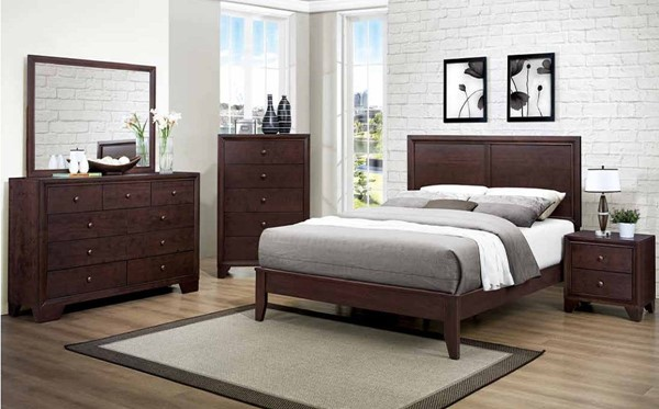 Kari Warm Brown Wood Glass 2pc Bedroom Set W/Queen Bed HE-2146-BR-S2