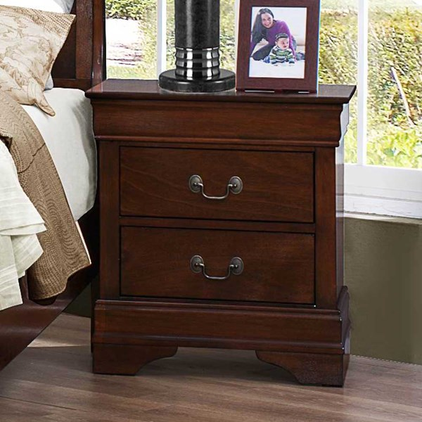 Mayville Traditional Cherry Black White Wood Night Stands HE-2147-4-VAR
