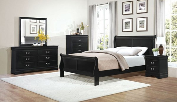 Mayville Traditional Black White Wood Glass 2pc Bedroom Sets HE-2147-BR-S