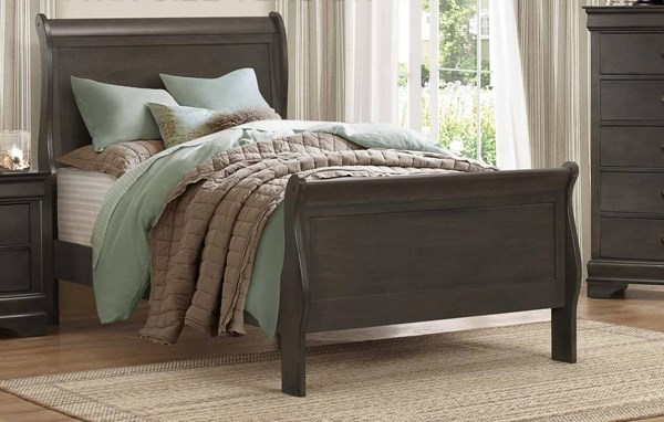 Home Elegance Mayville Stained Grey Twin Sleigh Bed HE-2147TSG-1