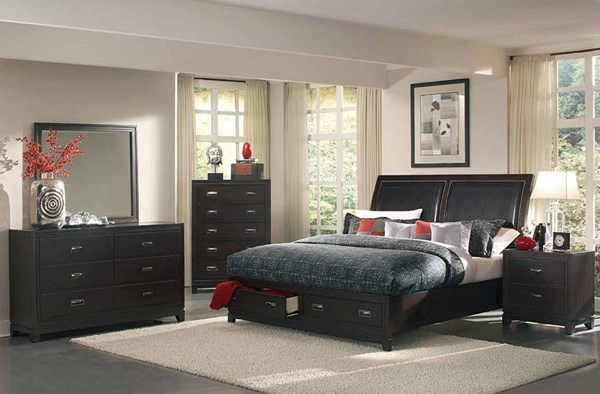 Lindley Black Wood Vinyl Glass Master Bedroom Set The Classy Home