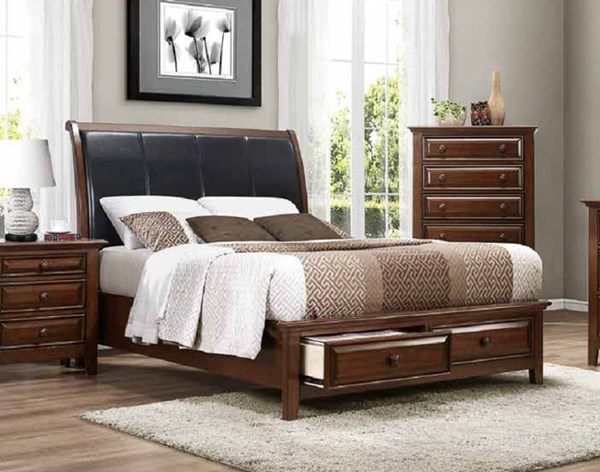 Sunderland Transitional Cherry Wood Vinyl Beds HE-2157-BEDS