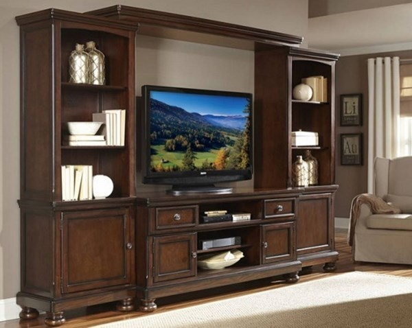 Cumberland Brown Birch Wood Entertainment Center w/62 Inch TV Stand HE-21590-ENT-S1
