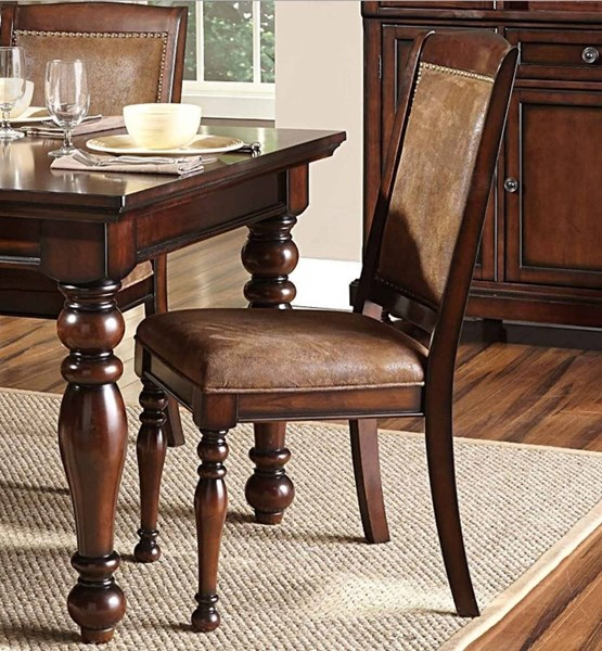 2 Cumberland Traditional Brown Birch Wood Microfiber Side Chairs HE-2159S