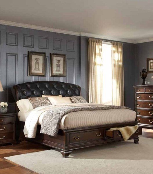 Wrentham Traditional Espresso Wood Bonded Leather Beds HE-2166-BED