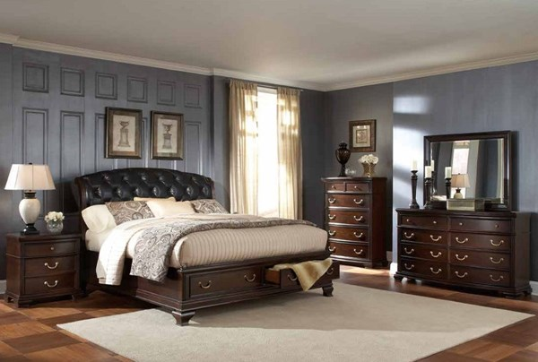 Wrentham Espresso Wood 2pc Bedroom Set W/Queen Platform Storage Bed HE-2166-BR-S2