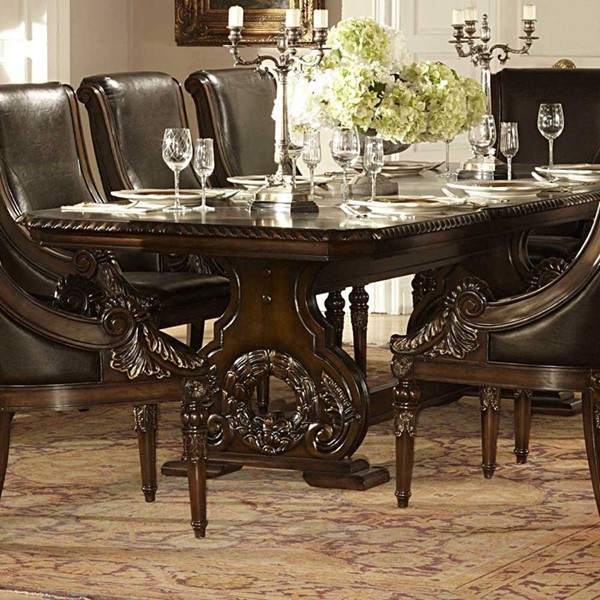 Orleans Dark Cherry Wood Trestle Dining Table HE-2168-108