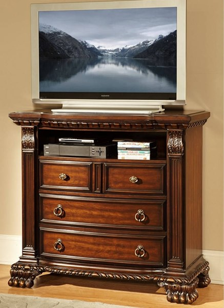 Home Elegance Orleans Rich Cherry TV Chest HE-2168-11