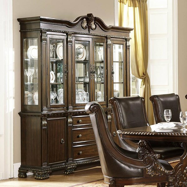 Orleans Old World Dark Cherry Wood Glass Buffet And Hutch HE-2168-50