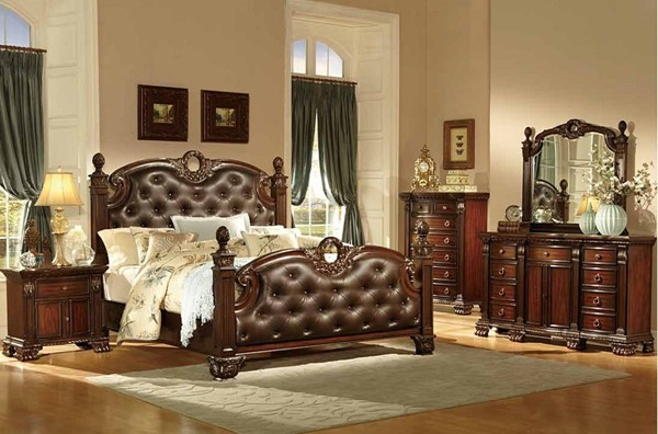 Orleans Rich Cherry Wood Glass Bonded Leather 2pc Bedroom Sets HE-2168-BR-S