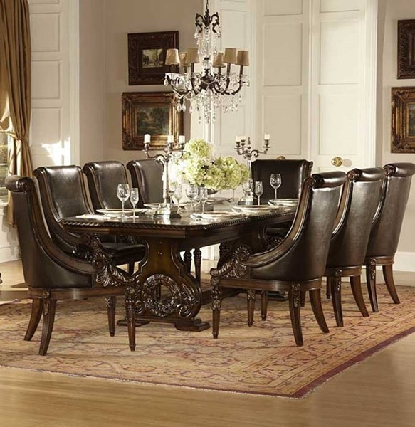 Orleans Dark Cherry Wood 9pc Dining Room Set HE-2168-DR-S