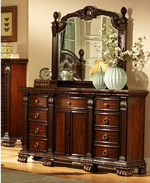 Home Elegance Orleans Rich Cherry Dresser and Mirror HE-2168-DRMR
