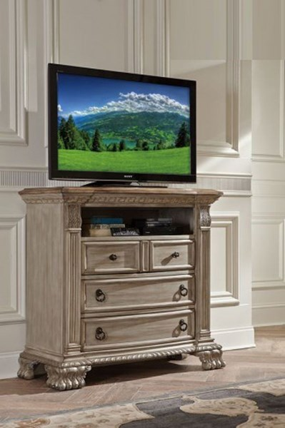 Orleans II Old World Washed White Weathered Brown Wood TV Chest HE-2168WW-11