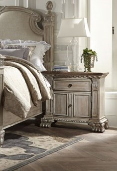 Orleans II Old World Washed White Weathered Brown Wood Night Stand HE-2168WW-4