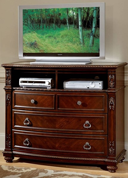 Hillcrest Manor Rich Cherry Wood TV Chest W/Marble Inset HE-2169-11