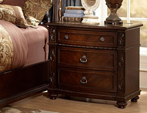 Hillcrest Manor Rich Cherry Wood Night Stand w/Marble Inset HE-2169-4