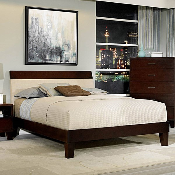 Claran Dark Cherry Wood King Platform Beds HE-2219-BEDS