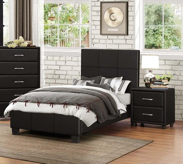 Home Elegance Lorenzi Black 2pc Bedroom Set with Full Bed HE-2220-BR-S3