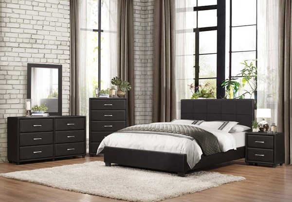Lorenzi Contemporary Black Wood Vinyl Master Bedroom Set HE-2220-BR