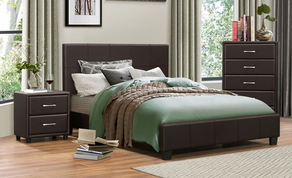 Home Elegance Lorenzi Dark Brown 2pc Bedroom Set with Full Bed HE-2220-BR-S6