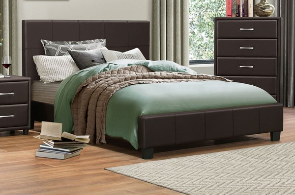 Home Elegance Lorenzi Dark Brown Queen Upholstered Platform Bed HE-2220DBR-1